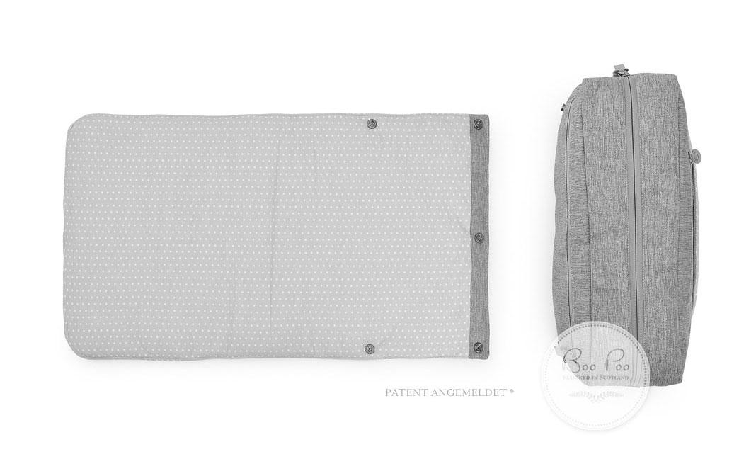wickeltasche in mint und grau mit p nktchen greenbird boo poo. Black Bedroom Furniture Sets. Home Design Ideas