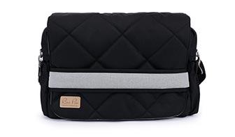 Wickeltasche für schwarzen Kinderwagen, neutral, schwarz mit grau
