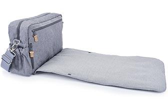 Wickeltaschen für Männer in grau, Herringbonestoff