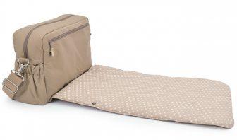 Beige Wickeltaschen mit grossen Innentaschen
