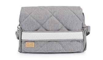 Beliebteste Wickeltaschen, hellgrau mit Blättchen, grau meliert