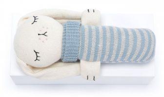 Kuschelhase blau biobaumwolle Strickhase