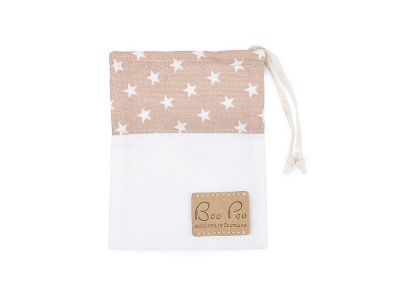 Schnullertasche beige mit Sternen Baumwolle