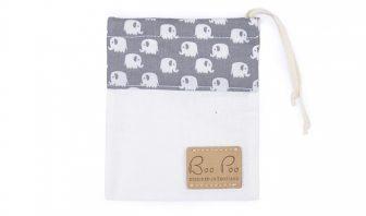 Schnullertasche mit Elefanten in grau