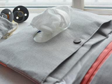 Aufbewahrung für Windeln und Feuchttücher grau meliert