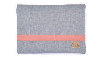 faltbare Windeltasche grau mit pink
