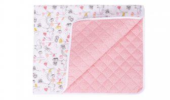 Babyplaid rosa mit Punkten und Tieren